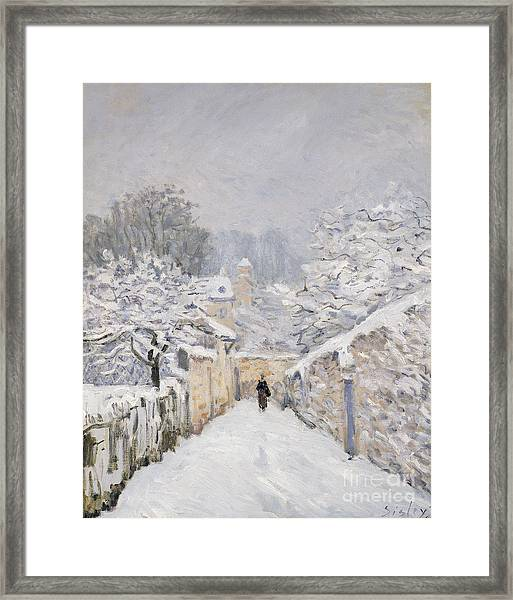 Snow At Louveciennes Framed Print