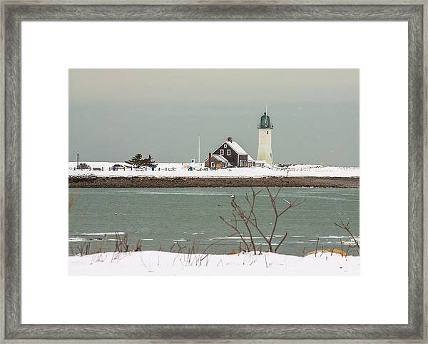 Snow At Scituate Lighthouse Framed Print