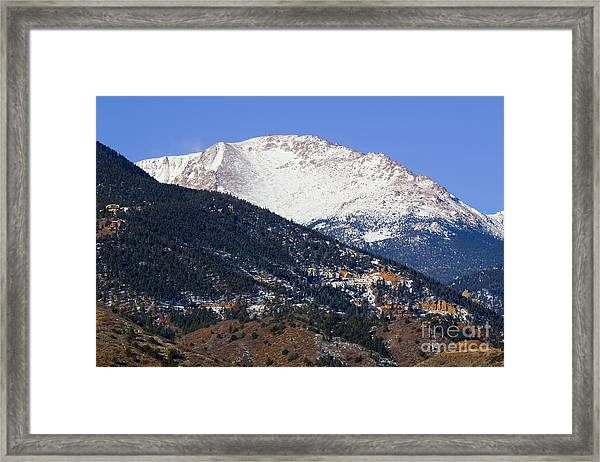 Snow Capped Pikes Peak In Winter Framed Print