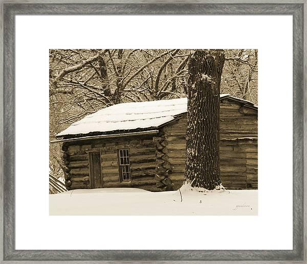 Snow Covered Gardner Cabin Framed Print