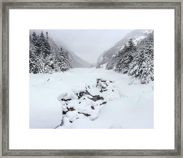 Snow Covered Lake Framed Print