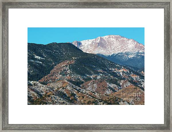 Snow Covered Pikes Peak  Framed Print