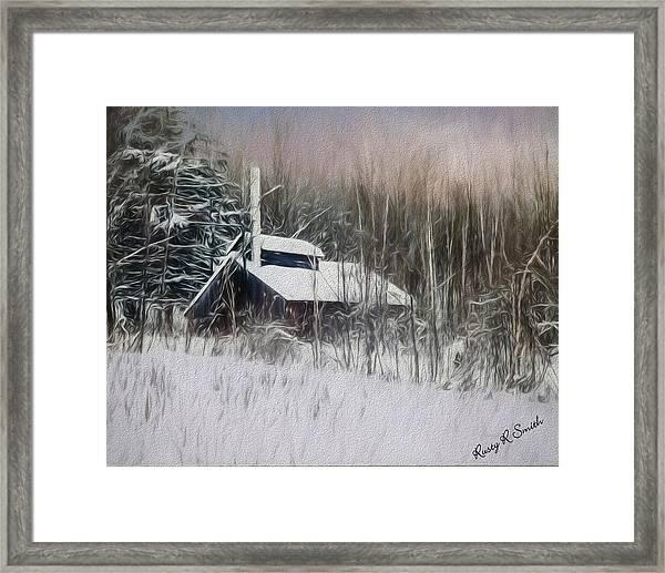 Snow Covered Vermont Sugar Shack.  Framed Print