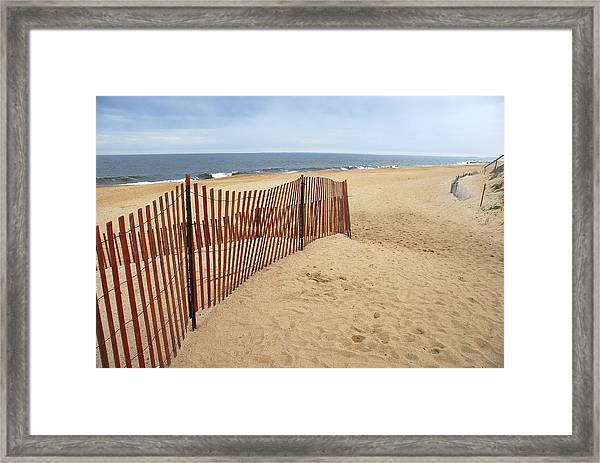 Snow Fence - Plum Island Framed Print