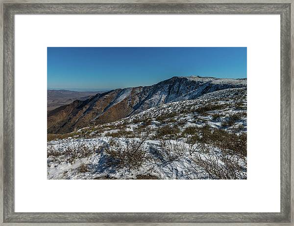 Snow In The Rain Shadow Framed Print