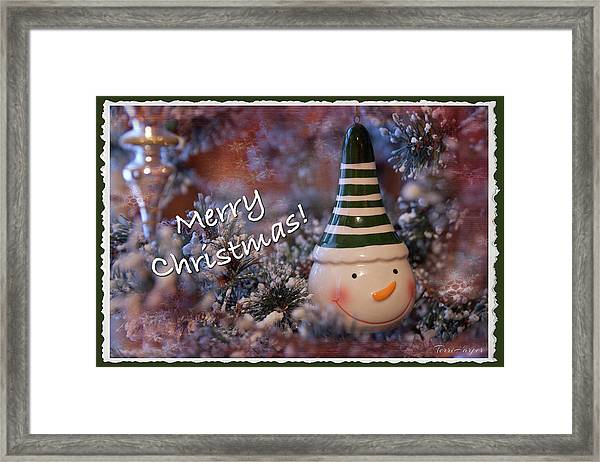 Snow Man Smile Framed Print