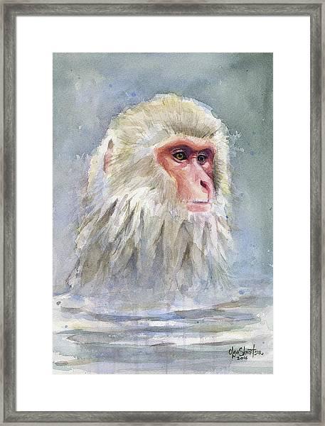 Snow Monkey Taking A Bath Framed Print