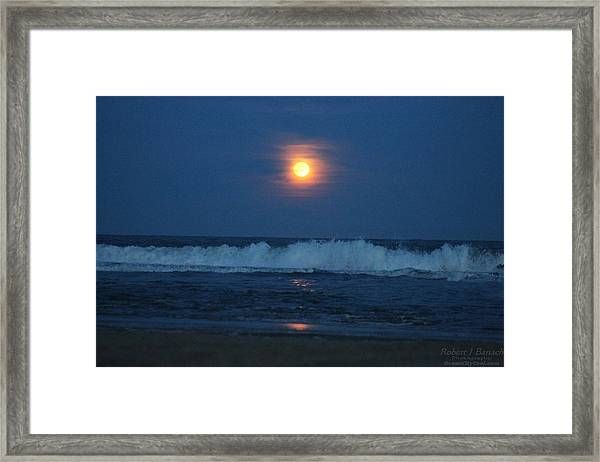 Snow Moon Ocean Waves Framed Print