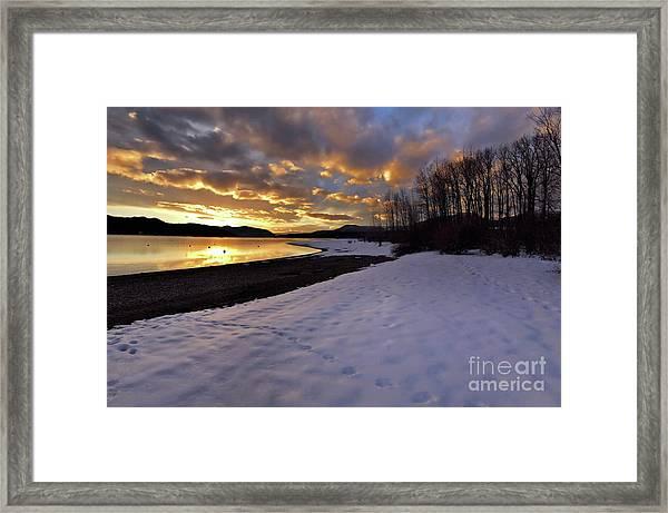 Snow On Beach Framed Print