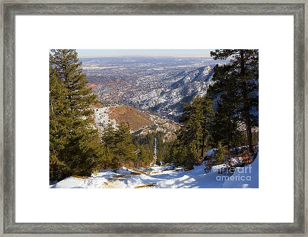 Snow On The Manitou Incline In Wintertime Framed Print