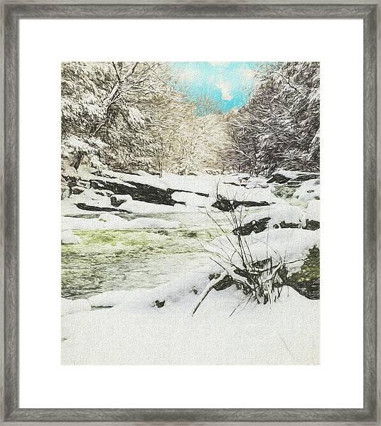 Snow On The Natchaug Framed Print