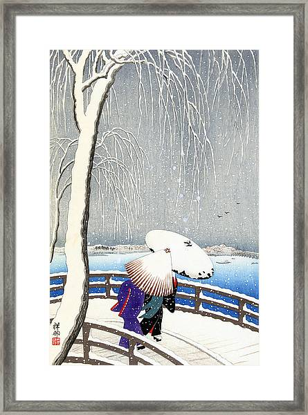 Snow On Willow Bridge By Koson Framed Print