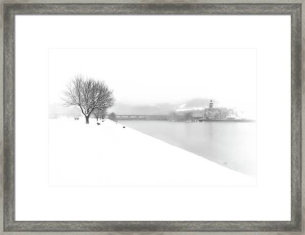 Snowfall On The River Danube At Ybbs Framed Print