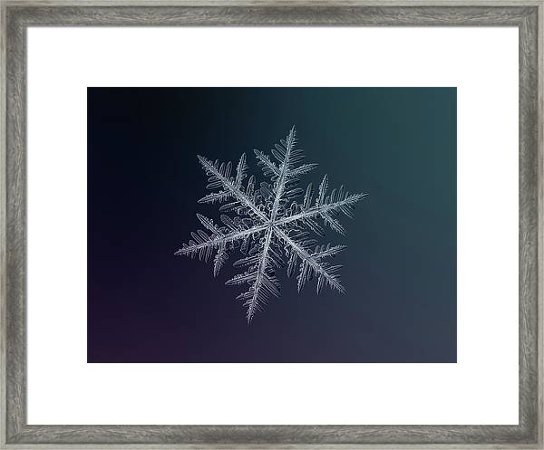 Snowflake Photo - Neon Framed Print
