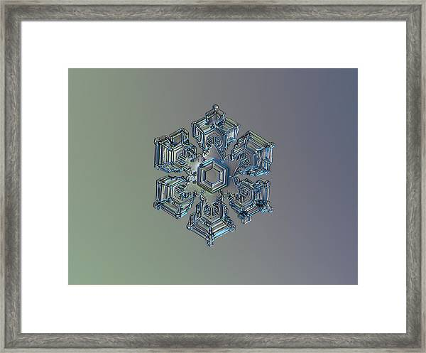 Snowflake Photo - Silver Foil Framed Print