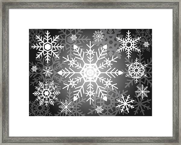 Snowflakes Black And White Framed Print