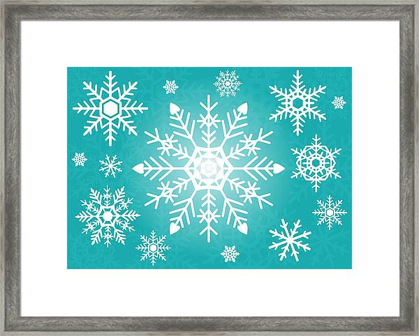 Snowflakes Green And White Framed Print