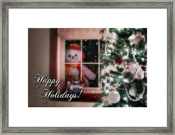 Snowman At The Window Card Framed Print