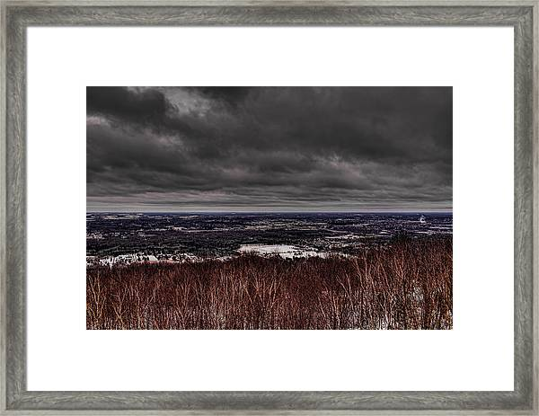 Snowstorm Clouds Over Rib Mountain State Park Framed Print