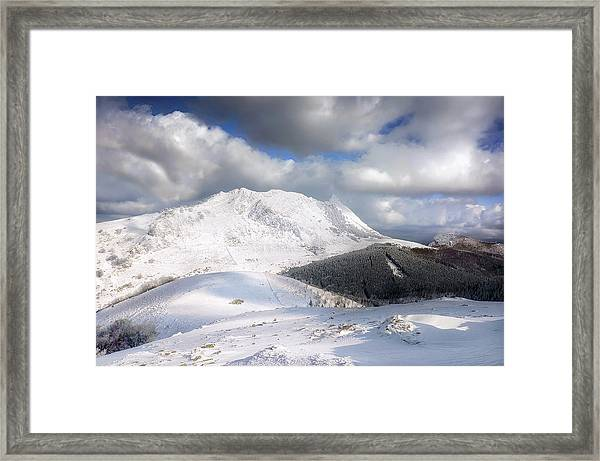 snowy Anboto from Urkiolamendi at winter Framed Print