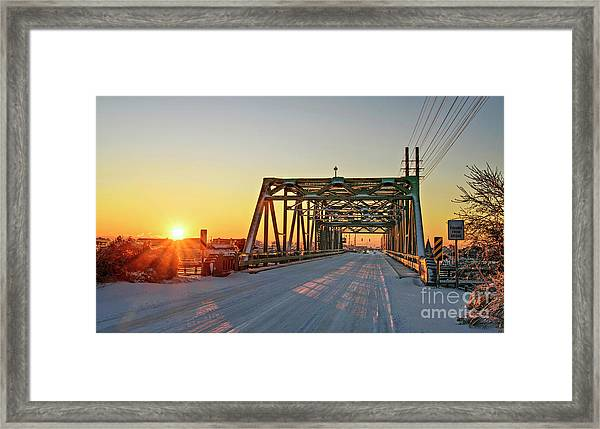 Framed Print featuring the photograph Snowy Bridge by DJA Images
