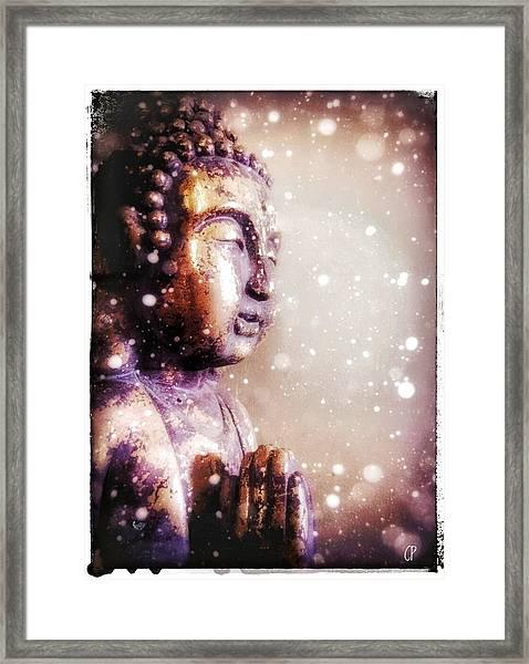 Snowy Buddha Framed Print