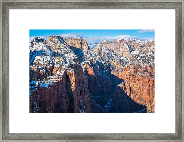 Snowy Cliffs Of Zion National Park Framed Print