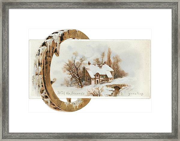 Snowy Cottage Landscape With Wooden Framed Print by Gillham Studios