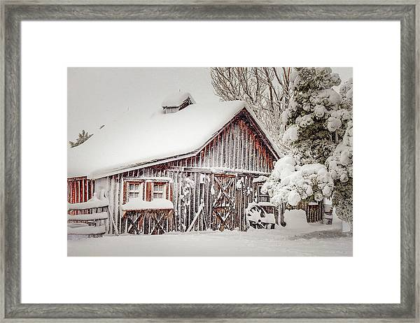 Snowy Country Barn Framed Print