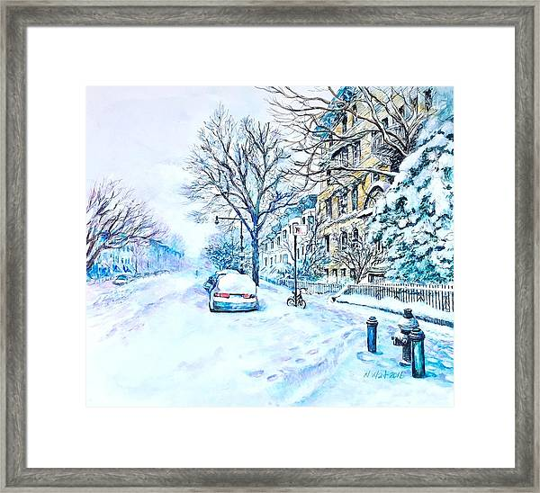 Snowy Day Brooklyn  Framed Print