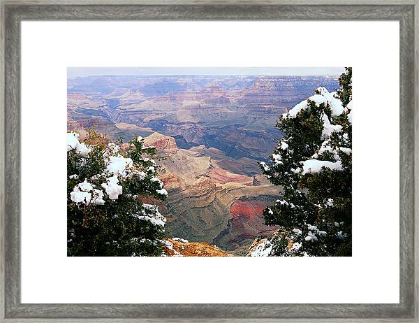 Snowy Dropoff - Grand Canyon Framed Print