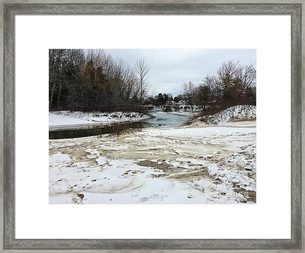 Snowy Elk Rapids River Framed Print