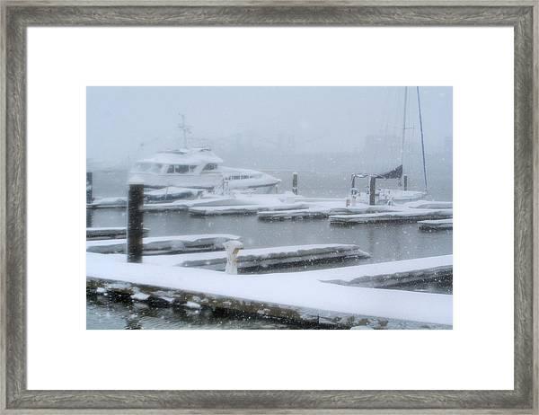 Snowy Harbor Framed Print