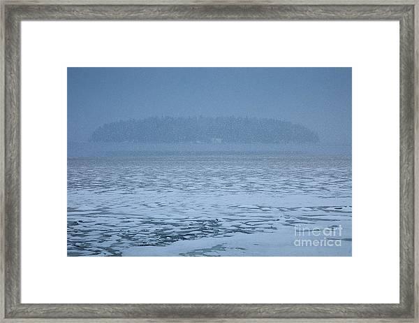 Snowy Island Framed Print