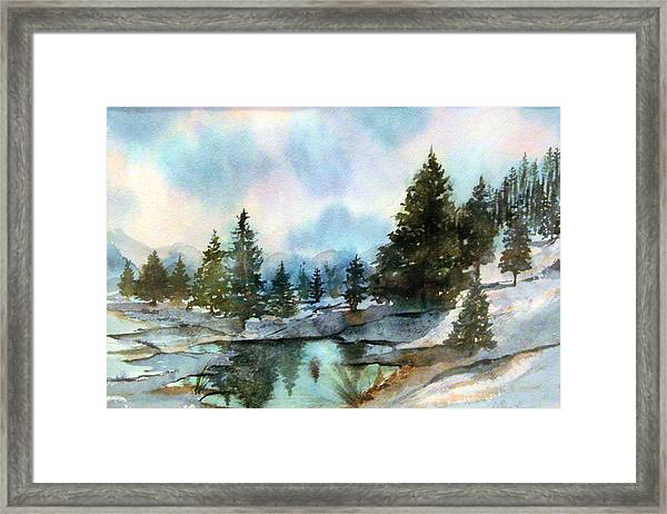 Snowy Lake Reflections Framed Print
