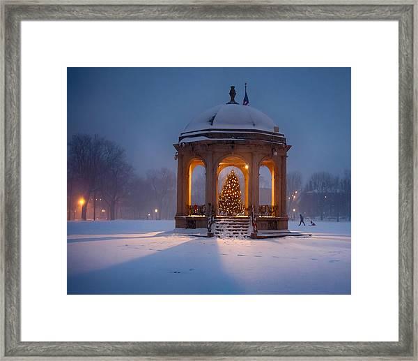 Snowy Night On The Salem Common Framed Print
