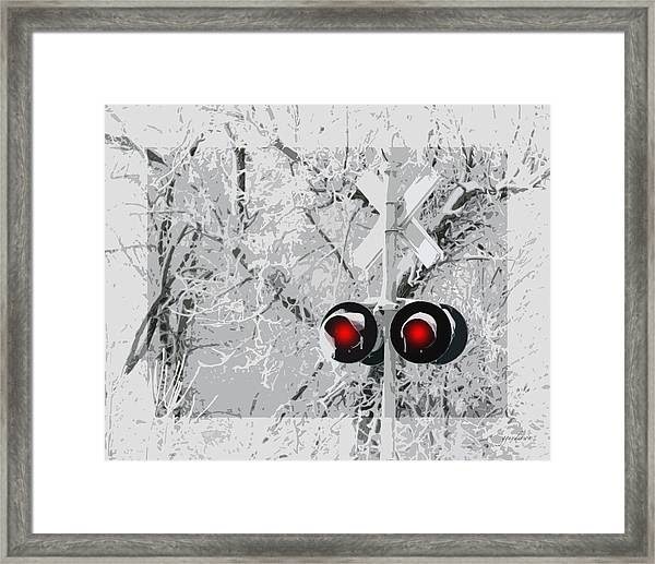 Snowy Red Light At Rr Crossing Framed Print
