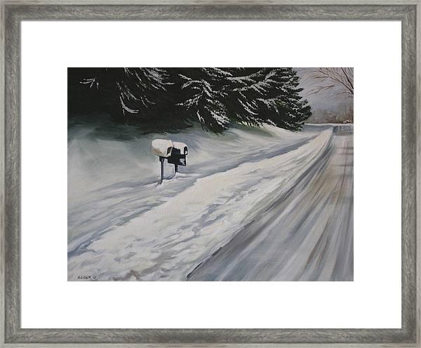 Snowy Sentinal Framed Print