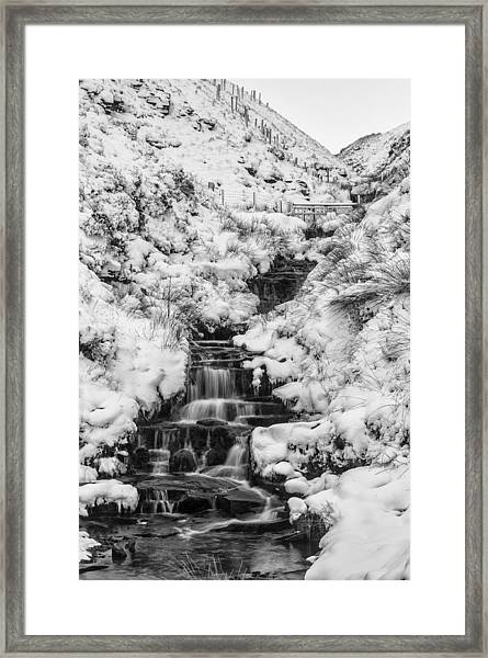 Snowy Waterfall In The Peak District In Derbyshire Framed Print