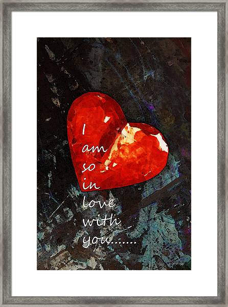 So In Love With You - Romantic Red Heart Painting Framed Print
