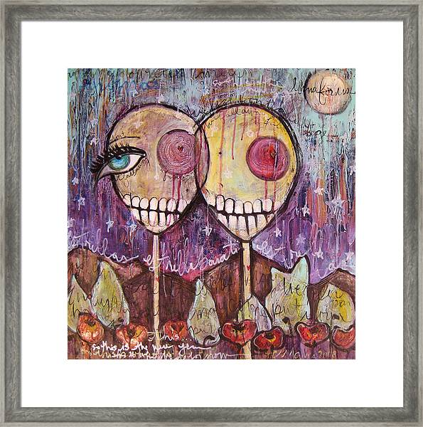 Framed Print featuring the painting So This Is The New Year Estrellas And All by Laurie Maves ART