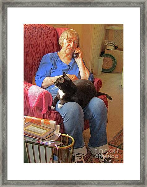 Socks And Marion On Phone Framed Print by Fred Jinkins