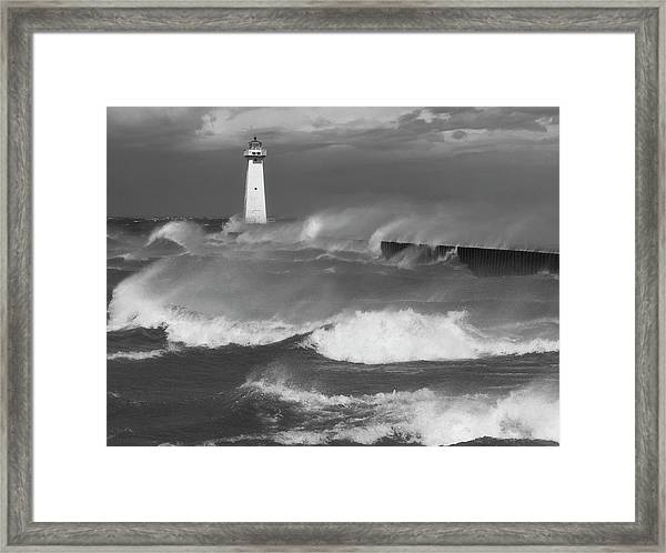 Sodus Point Light During The Storm Framed Print