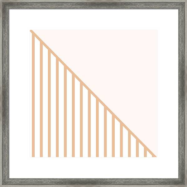 Soft Blush And Coral Stripe Triangles Framed Print