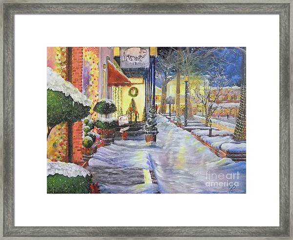 Soft Snowfall In Dahlonega Georgia An Old Fashioned Christmas Framed Print