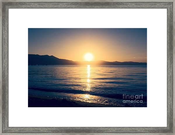 Soft Sunset Lake Framed Print