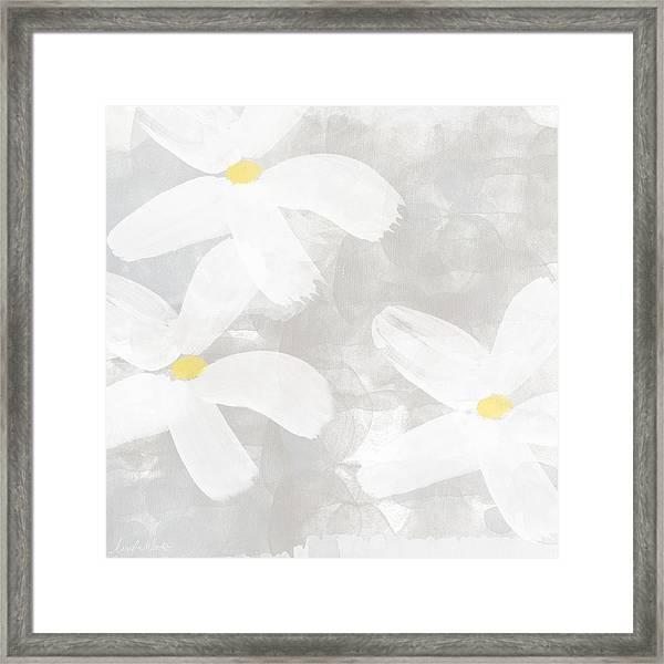 Soft White Flowers Framed Print