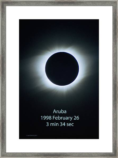 Solar Eclipse Aruba 1998 Framed Print