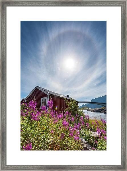 Solar Halo Above Rorbu Framed Print