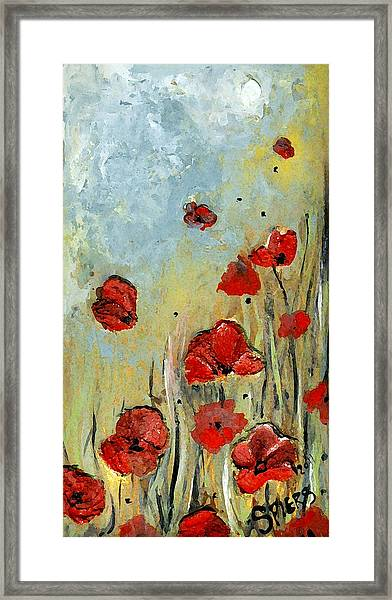 Sold Mom And Poppies Framed Print by Amanda  Sanford